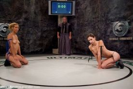 Isis Love destroys Amber Rayne, in nude wrestling