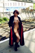 Redhead fishnet stockings babe in outdoor flashing and public nudity in Edinburg