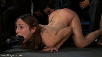 Hot Amber Rayne gets triple penetrated, made to entertain crowd!