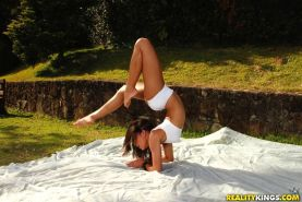 Kamilla was one sexy little Brazilian yoga instructor assfucked first time