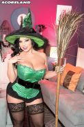 Busty witch Sheridan Love filled on Halloween