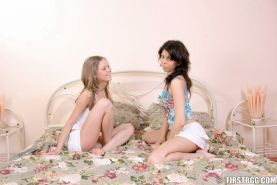Two teen babes sharing lucky cock in ffm fuck love