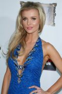 Joanna Krupa showing huge cleavage in blue backless mini dress at Gallery Nightc