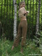 Skinny blonde flasher Elviras outdoor self fingering
