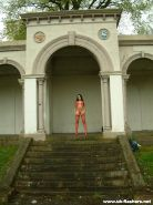 Dark exhibitionist Isis flashing tits and sexy outfits at uk landmarks and stree