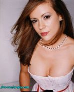Alyssa Milano showing tits and pussy to paparazzi