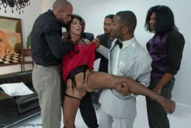 Her First gang bang  huge black cock interracial DP face fucking first gang bang