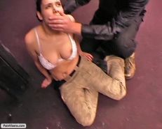 Fetish model is held captive and gets her luscious breast twisted and clamped wi