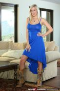 BiBi Jones rides dick on the couch in a royal blue dress