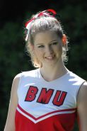 Porn star Sunny Lane in a cheerleader uniform