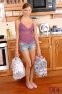 Avril Sun comes home from shopping and sucks cock