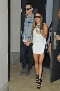 Ashley Tisdale leggy wearing a mini skirt outside her hotel in SoHo