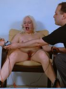 Blonde bondage slave in extreme electro pain and facial bdsm torments