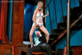 Steamy fully clothed golden shower fucksome in a strip club