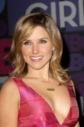 Sophia Bush braless showing big cleavage in a hot pink dress at the Girls 4th se