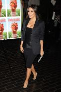 Eva Longoria busty wearing a strapless leather top at the New York premiere of F