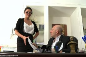 Secretary Take Down:Boss & Friends Tie her up & Fill her Pussy with Cum!