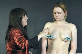 Extreme lesbian humiliation and bdsm of Amber West in face punishment and degrad