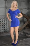 Simone Sonay blonde milf bound in blue and made to suck two cocks