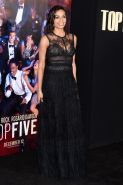 Rosario Dawson wearing a partially see through lace dress at the Top Five New Yo