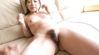 Aiko Hirosi Shaves Her Hairy Pussy