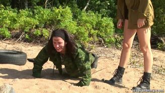 Military babe trained nude in the boots