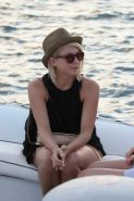 Julianne Hough wearing skimpy shorts  overall top while on vacation in St Barts