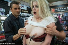In Sex Shop: Hot blond Danielle Delaunay fucked in porn store!