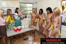 Poor sorority girls made to cook and wash the kitchen naked or o