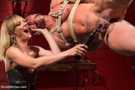 Mona Wales electro femdom teases and toys her bound slave Brock Avery