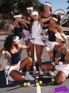 Lesbians tennis players on massive fetish orgy with toys