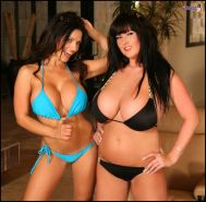 Rachel Aldana in bikinis with Denise Milani