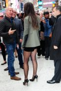 Katie Holmes leggy wearing shorts  pantyhose at ABC Studios in NYC
