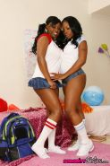 Ebony girl Jada Fire with big tits gets lesbian sex