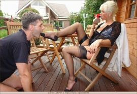 Blonde in stockings foot dominating lucky guy