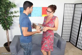 Horny milf Charlee jerking off delivery guy