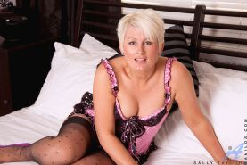 Sally Taylor teases her nipples with a pearl necklace