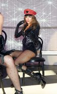 Maria Menounos in fishnets and high boots as pussycat dolls