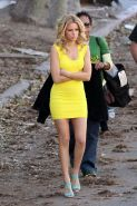 Elizabeth Banks wearing tight yellow mini dress while filming Walk Of Shame in L
