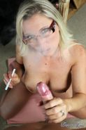 Busty MILF Devon Lee giving hot and smoky blowjob POV style