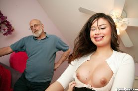 Young asian whore pleasuring a dirty old man