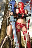 Angela and Marylin in cosplay lesbian fun in a Warcraft fantasy world wearing wi