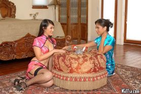 Asian lesbian dildo sex with Evelyn Lin and Nyomi Marcela