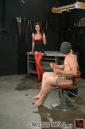Bound slave Chad tormented and sodomized by hot Mistress Berlin
