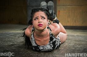 Jessica Creepshow is rope bound and masked by maledom Jack Hamme
