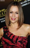 Alyssa Milano leggy in red mini dress and nipple slip paparazzi pictures