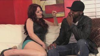 Redhead Jessica Ryan devours then rides a big black cock