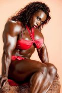 Black massive and shredded Female Bodybuilder