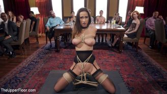 Ashley Adams is everything The Upper Floor could hope for in a trainee slave: bi