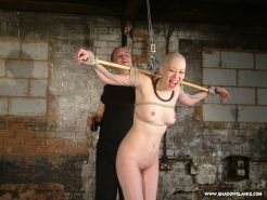 Japanese bondage and bizarre feather and syrup domination of bald oriental beaut